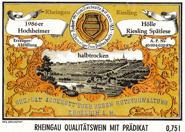 Aschrott Hochheimer Hölle Riesling Spätlese halbtrocken 1986