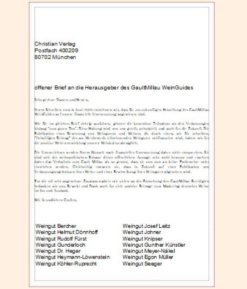 Offener Brief einiger Spitzenwinzer an den Christian Verlag