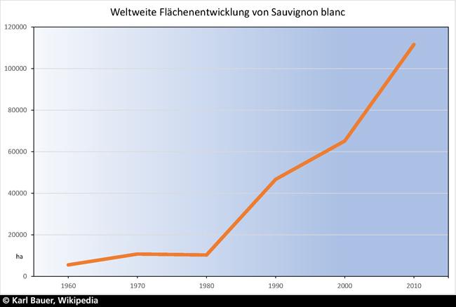 Weltweite Verbreitung von Sauvignon Blancs, Grafik Karl Bauer, Wikipedia