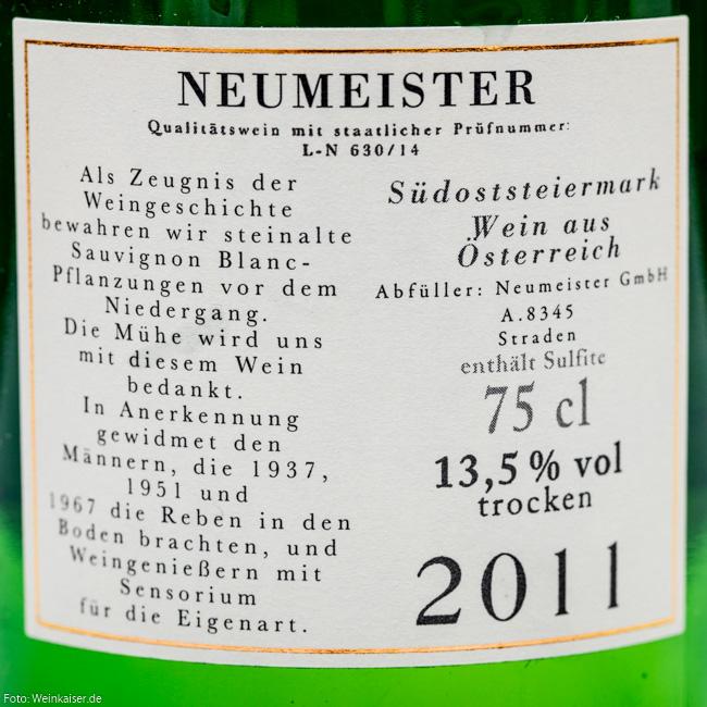 Neumeister Sauvignon Blanc Alte Reben 2011