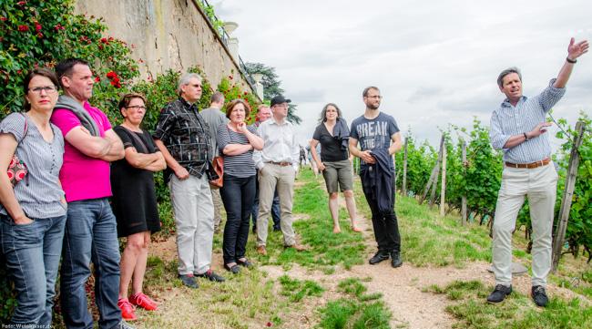 Vinocamper gemeinsam mit Domänenverwalter Christian Witte bei der Besichtigung Schloss Johannisberg