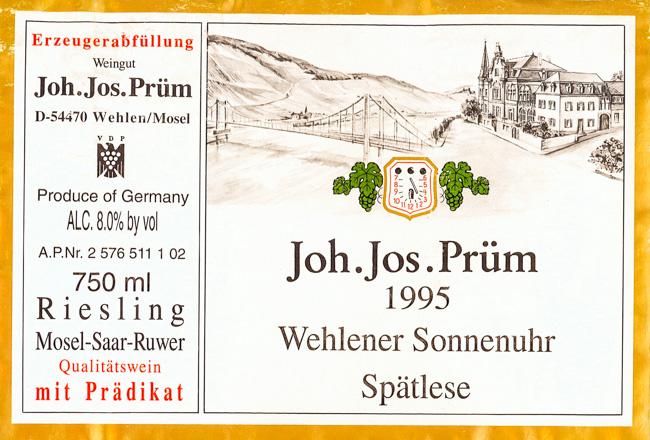 Joh. Jos. Prüm Wehlener Sonnenuhr Riesling Spätlese 1995