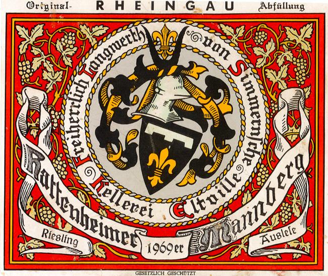 Langwerth von Simmern Hattenheimer Mannberg Riesling Auslese 1969