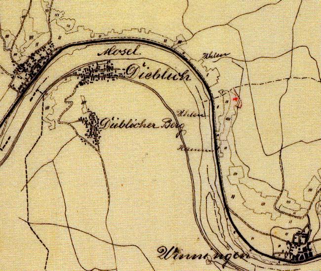 Katasterzeichnung des Gebiets um den Uhlen