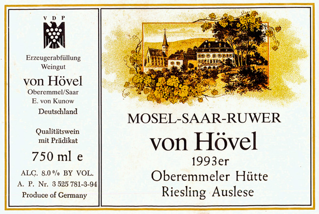 von Hövel Oberemmeler Hütte Riesling Auslese 1993