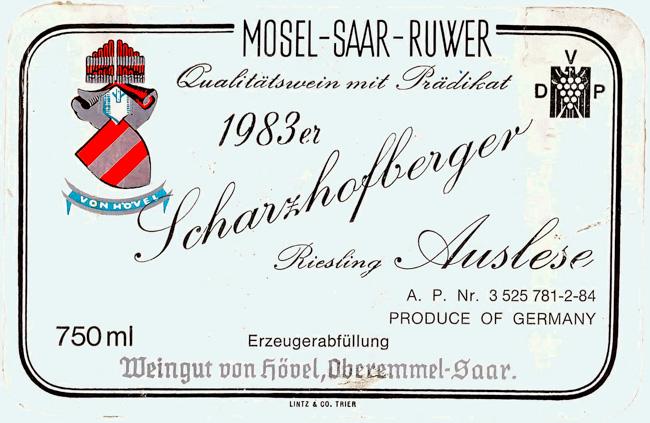 von Hövel Scharzhofberger Riesling Auslese 1983